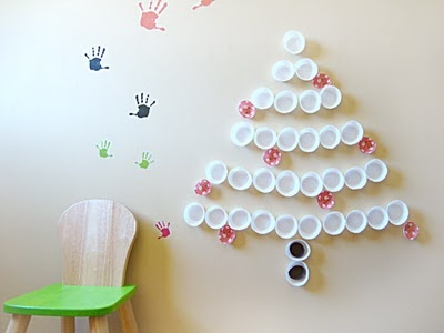 You could recycle all sorts of lids or containers to make this tree.