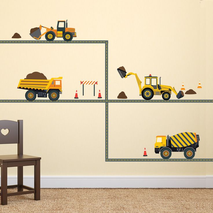 Four construction vehicles including a dump truck, cement mixer, backhoe, and excavator plus gray straight road. These fabric wall decals are perfect for your little one's bedroom, playroom or nursery
