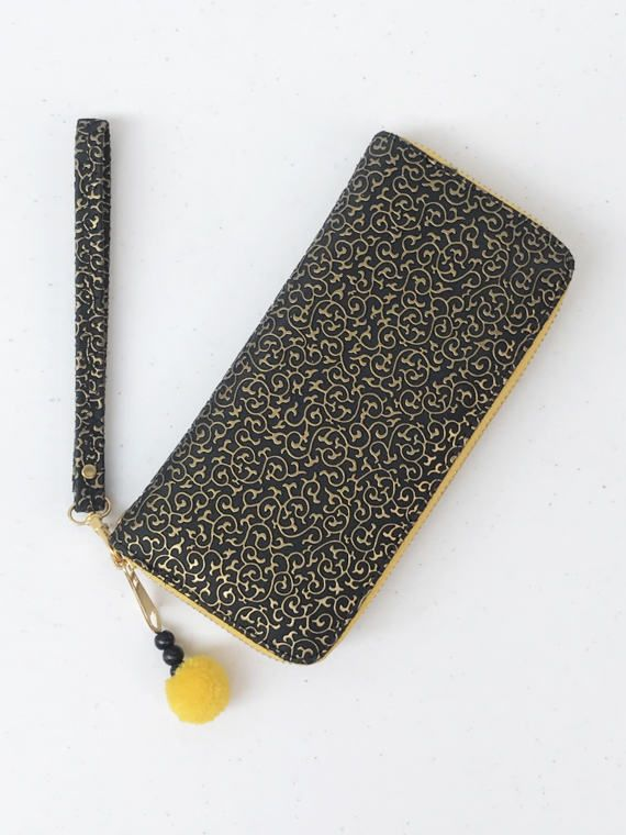 Black Yellow Hmong Haute Couture Zipper Hand Strap Long Wallet - Black bead, Pompom, Gold Zipper, Women Wallet, Long Wallet, Women Purses