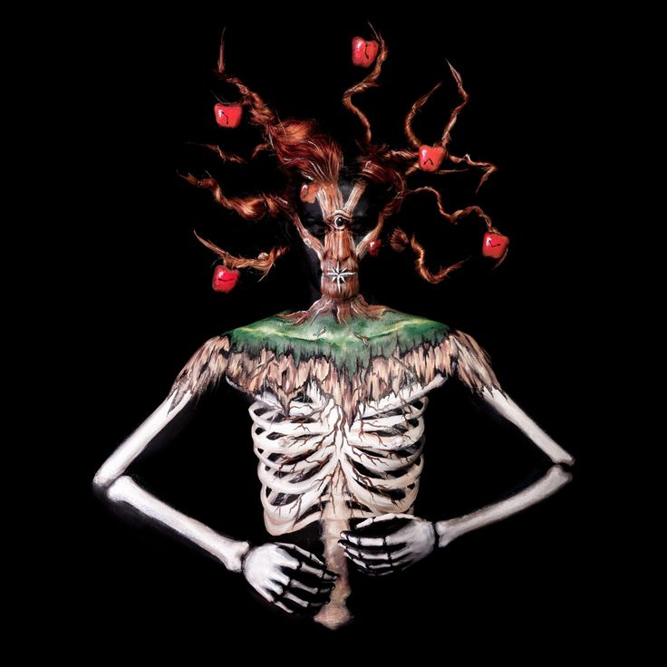 Bodypainted contortionists in pictures body painting