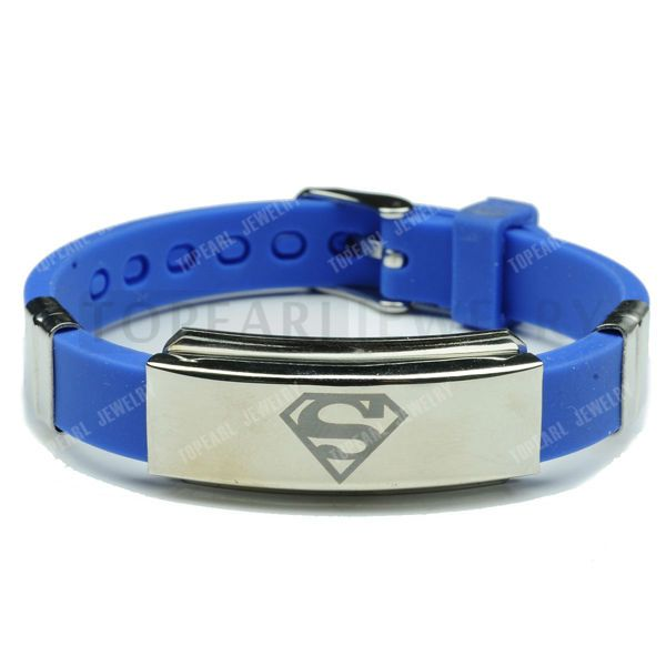 Topearl Jewelry 3pcs Superman Blue Rubber Stainless Steel Bracelet MEB225