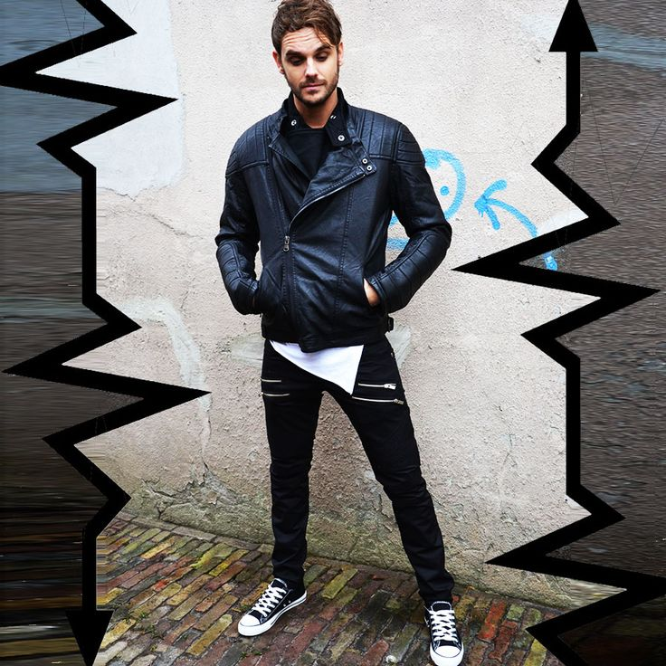 Biker jacket | Zipper pants black | Low sneakers black  http://mymenfashion.com/biker-jacket-skew-zipper.html