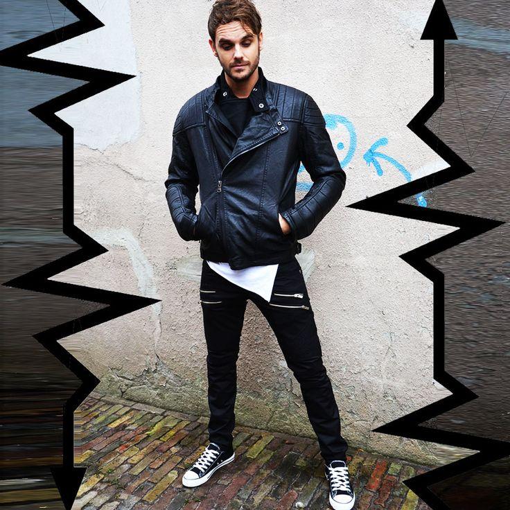 Biker jacket   Zipper pants black   Low sneakers black  http://mymenfashion.com/biker-jacket-skew-zipper.html