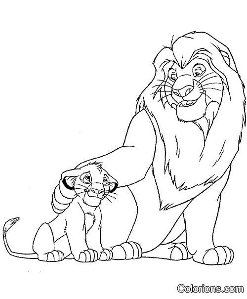 Impression le roi lion f te d 39 anniversaire enfant lion coloriage coloriage - Le roi lion a colorier ...