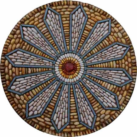 Maggy Howarth - Cobblestone Designs. Mosaic pebbles stones mandala
