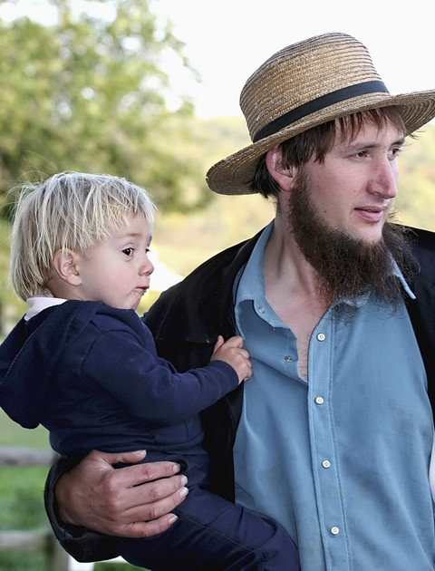 Amish man and boy. He's the spitting image of my Mennonite friend.