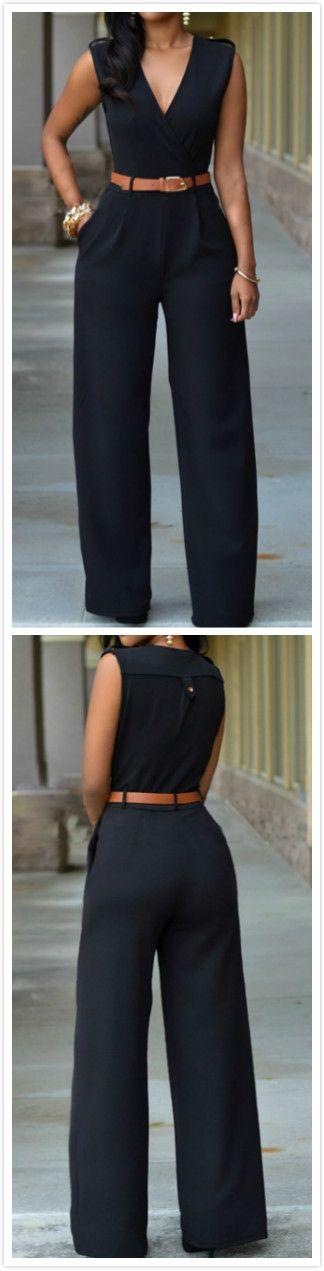 V Neck Sleeveless Wide-leg Jumpsuit With Belt