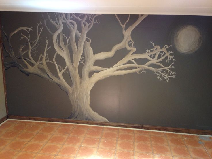 Epic tree painting in the new theatre room!!!