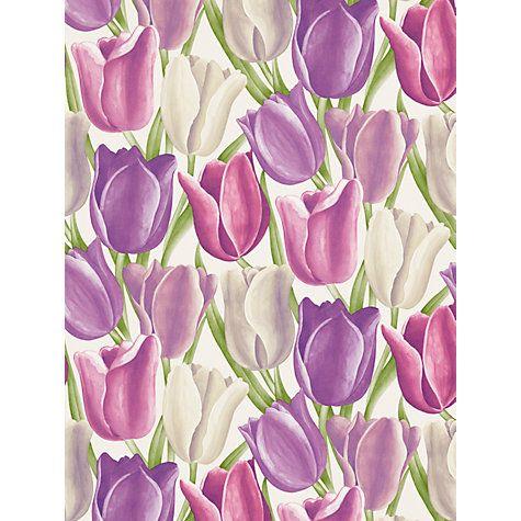 Buy Sanderson Early Tulips Wallpaper, DVIWEA101, Purple / Plum Online at johnlewis.com