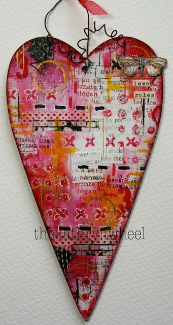 Heart by Country Love Crafts Fluid acrylic paints by DecoArt Media Stencils and stamps by Andy Skinner Mini stencil by ...