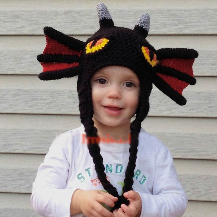 Black Night Fury knit hat for kids