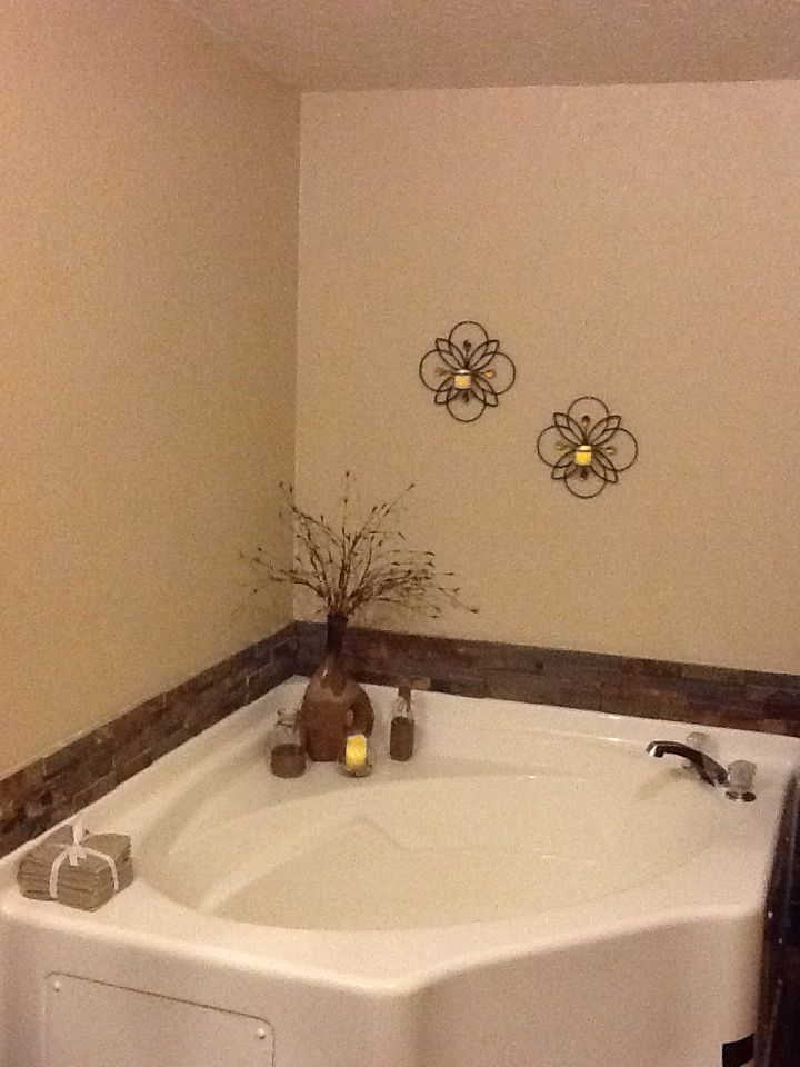 Redo on our garden tub added the stone ledges and got rid for How to decorate a garden tub bathroom