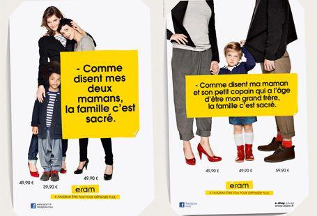 """Campagne de publicité pour Éram. L'utilisation du terme """"sacré"""" renvoie à des valeurs familiales religieuses, pour mieux s'en détacher. Photo: DR."""
