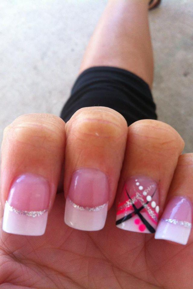 cute pink  black acrylic nails.