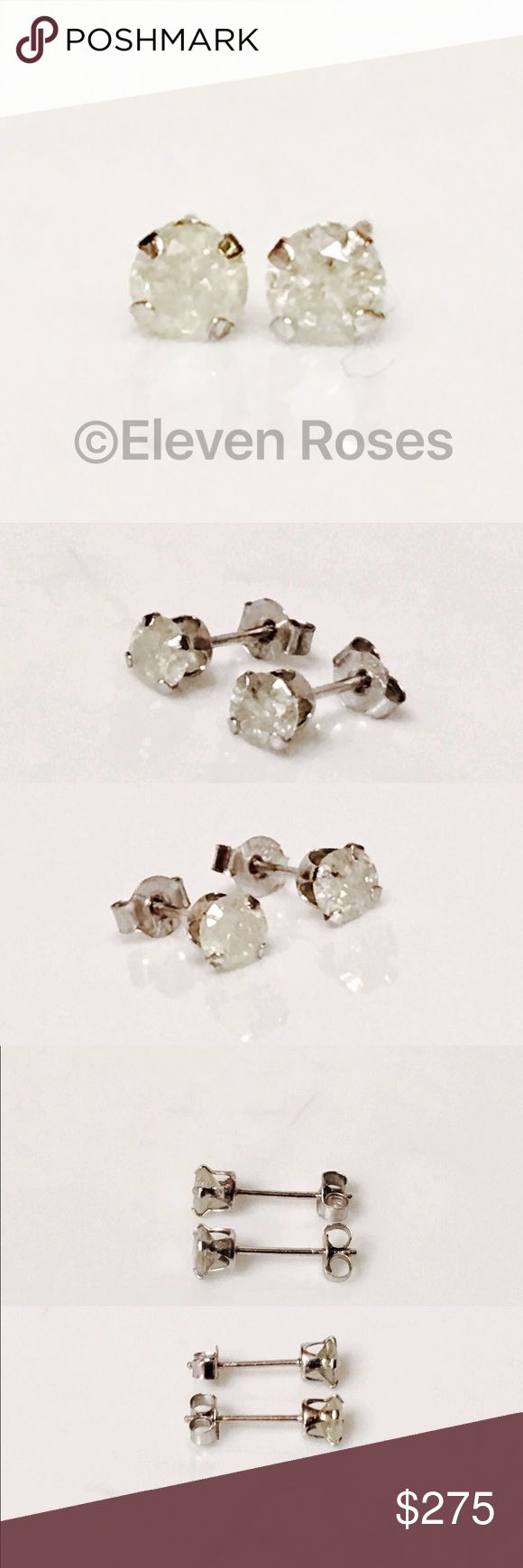 14k Gold 1/3 CTW Diamond Stud Earrings 14k Gold 1/3 CTW Diamond Stud Earrings - 585 14k White Gold - Real Diamonds Measure Approx 3.53 each (Approx 1/3 CTW) - Posts With Butterfly Backs (for pierced ears) -  Nice Size Starter Studs (Not Superior Quality (inclusions/color) - Preowned / Preloved  💕 May Show Slight Signs Of Having Been Worn.  📷  Listing Images Are Of Actual Item Being Offered Jewelry Earrings
