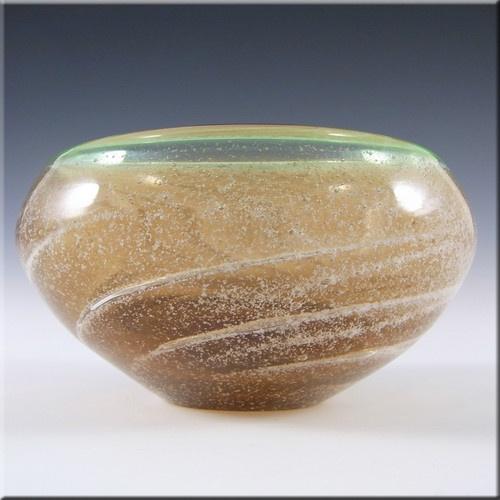 Skrdlovice Czech Amber/Green Glass Bowl by Ladislav Palecek £39.99
