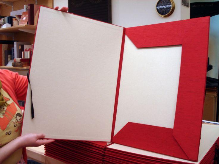 handmade portfolio case with ties