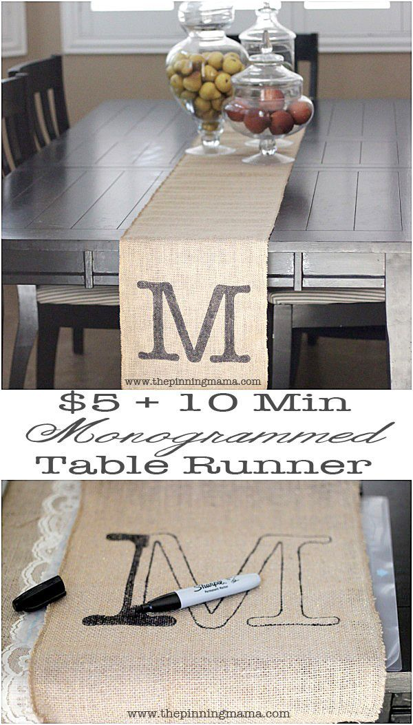 This craft is perfect for you if you are NOT crafty!  Just $5 and 10 minutes and you have an awesome Monogrammed Burlap Table Runner with your Silhouette!