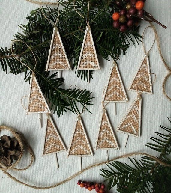 Christmas Ornaments Handmade Set Traditional Rustic Farmhouse Burlap Decor Country Style Cottage Decor Holiday Decor Gift Tag Tree Farmhouse Christmas Ornaments Rustic Christmas Ornaments Christmas Ornament Sets
