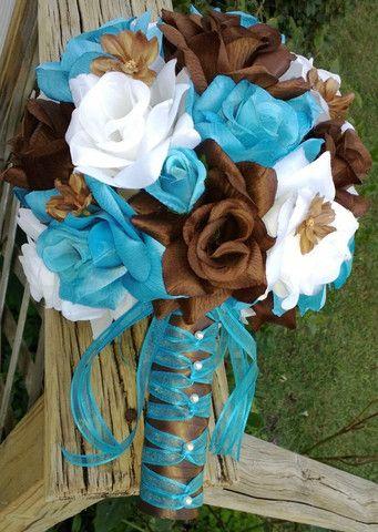 17 Piece Turquoise Malibu Blue Brown White Wedding Flower Set