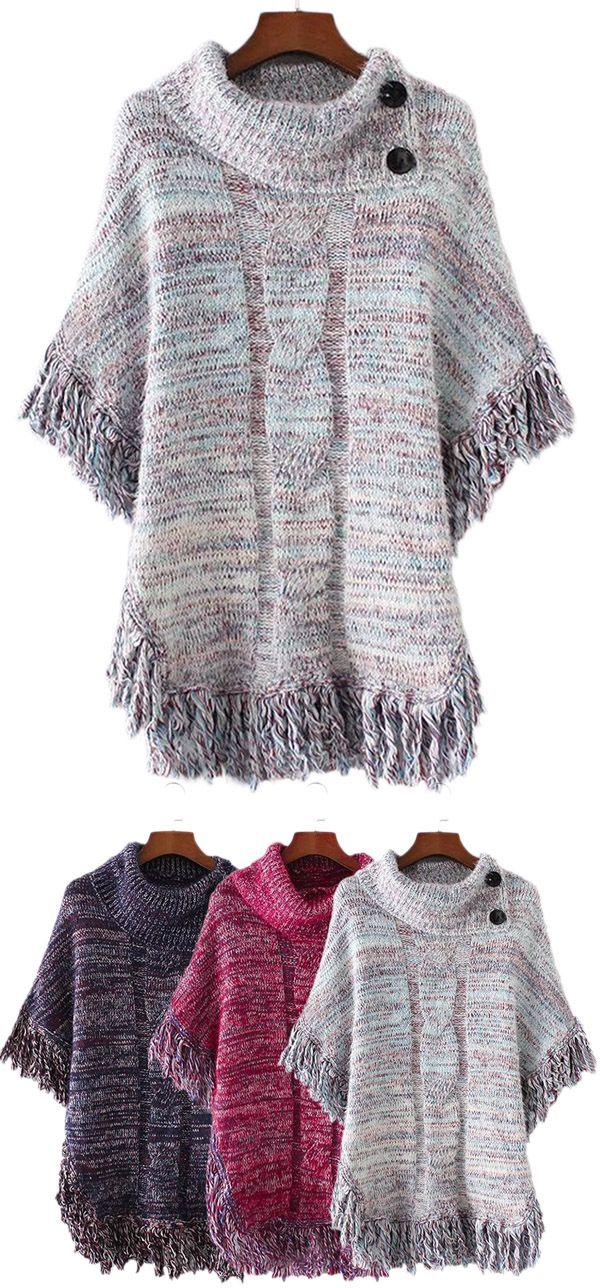 Tassels Buttoned Cloak Sweater