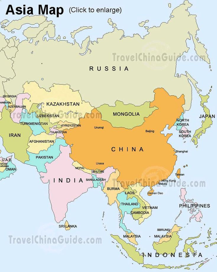 Asian countries map | Asia Map: China, Russia, India, Japan - TravelChinaGuide.com