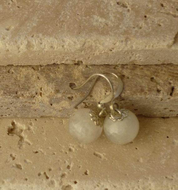 Gemstone Earrings Beautiful Moon stone by ShawlsandtheCity on Etsy, $10.00