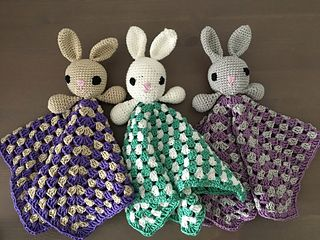 free crochet pattern bunny lovey granny square