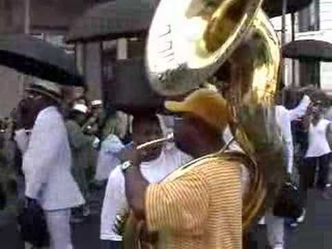 In the Quarter, the Rebirth Brass Band doing Do Watcha Wanna - get your whistle & umbrella!