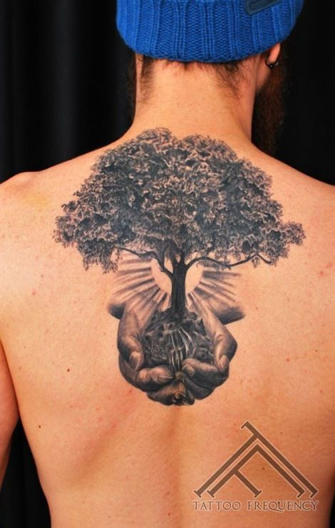 Cover up tattoo. Completely healed.  Done by @martinssilins1  #tree #tattoo #nature #blackandgrey #sun #hands #waterfall #tattoofrequency #riga #latvia #art #getinked #coveruptattoo #coverup