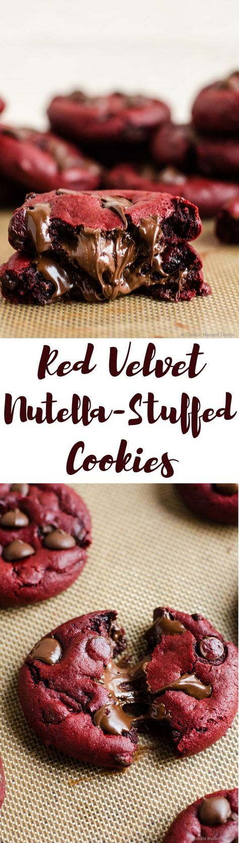 red velvet nutella stuffed cookies. These cookies are EVERYTHING! This recipe also gives a nice tip on how to stuff the nutella inside the cookies.