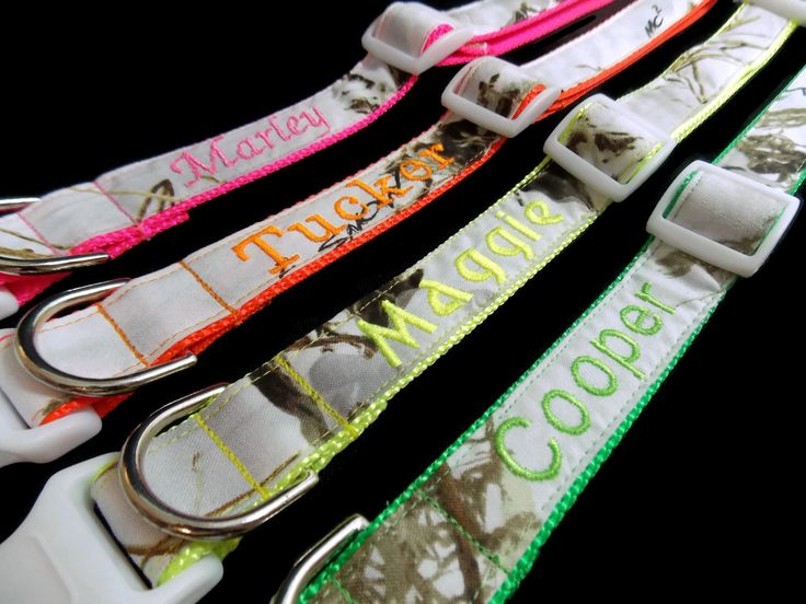Real Camo, Embroidered on Orange, Pink, Green or Yellow Dog Collar - Snow Camo by FuzzyPawCreations on Etsy https://www.etsy.com/listing/208671811/real-camo-embroidered-on-orange-pink