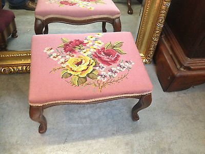 Antique French Style LEG Wood Footstool w/ Needlepoint Top BRIGHT PINK COLORS
