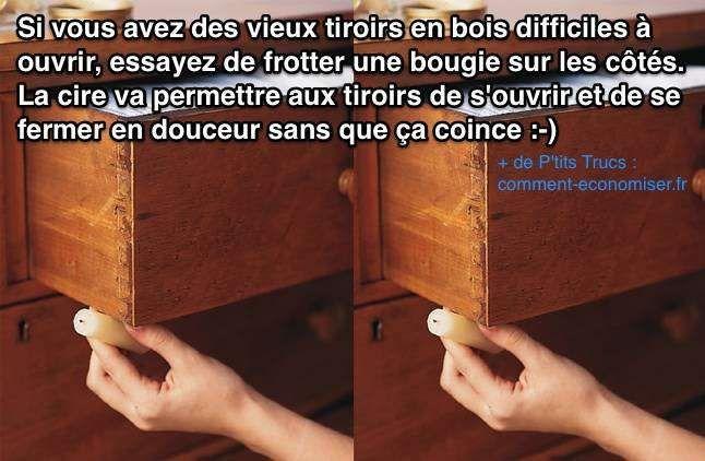 Utilisez de la cire pour décoincer un tiroir en bois qui coulisse mal