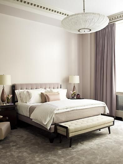 Neutral minimal modern. that line of pattern around the ceiling adds visual interest. similar set up to our room,