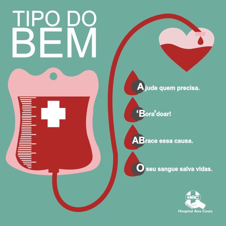 Qual o seu tipo de sangue? Seja qual for, tem alguém precisando dele. Seja doador de sangue. #HAC #HospitalAnaCosta #Doar #DoaçãodeSague #Sangue #Solidariedade #Solidário