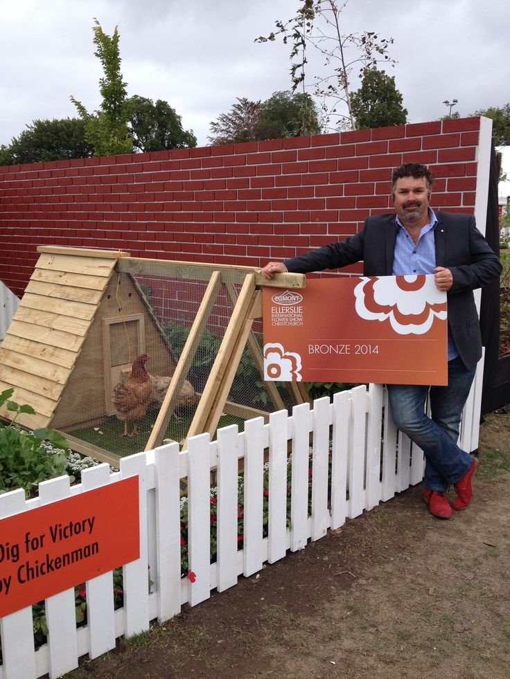 Chickenman with our Bronze award at Ellerslie Flower Show 2014