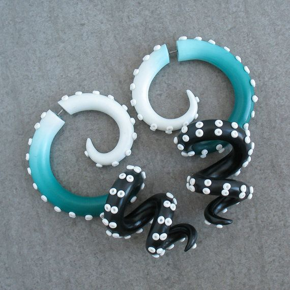 Octopus Gauge Earrings Tentacle Plugs Fake Gauge by JuneTiger