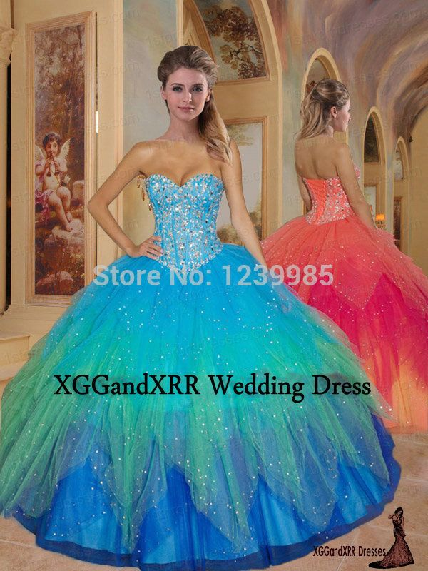 Quinceanera 2016 сладкие 16 сексуальная паффи радуга бальное платье пышное платье для 15 года девушки пром ну вечеринку платья EQ003