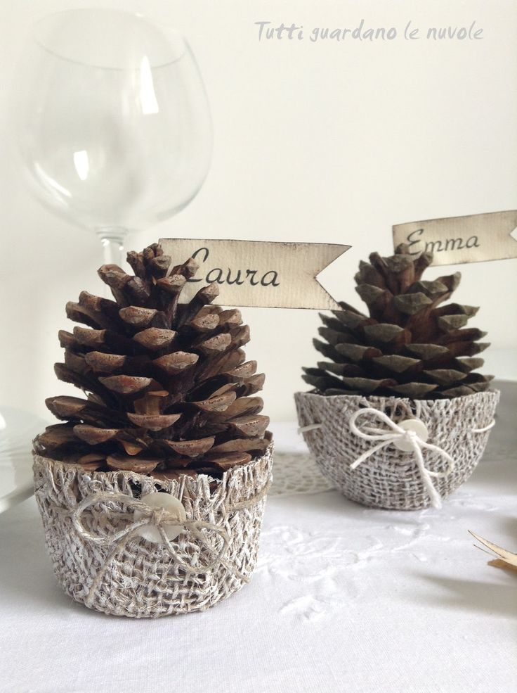 Jute baskets for pine cones. Crop to fit, starch with food starch.Dry on upside down bowls.Decorate simply with a drawstring and button.