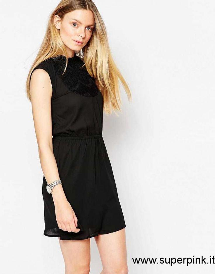 Vestito nero collo alto rhapsody