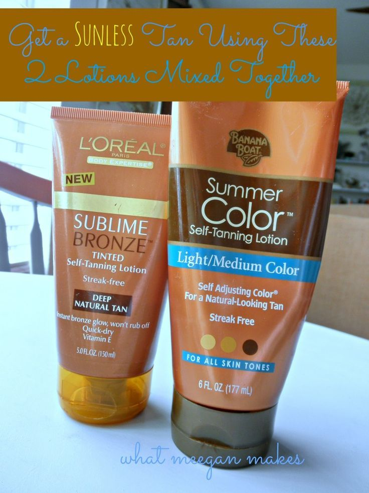 Self Tanner Recipe Using Two Lotions Together.