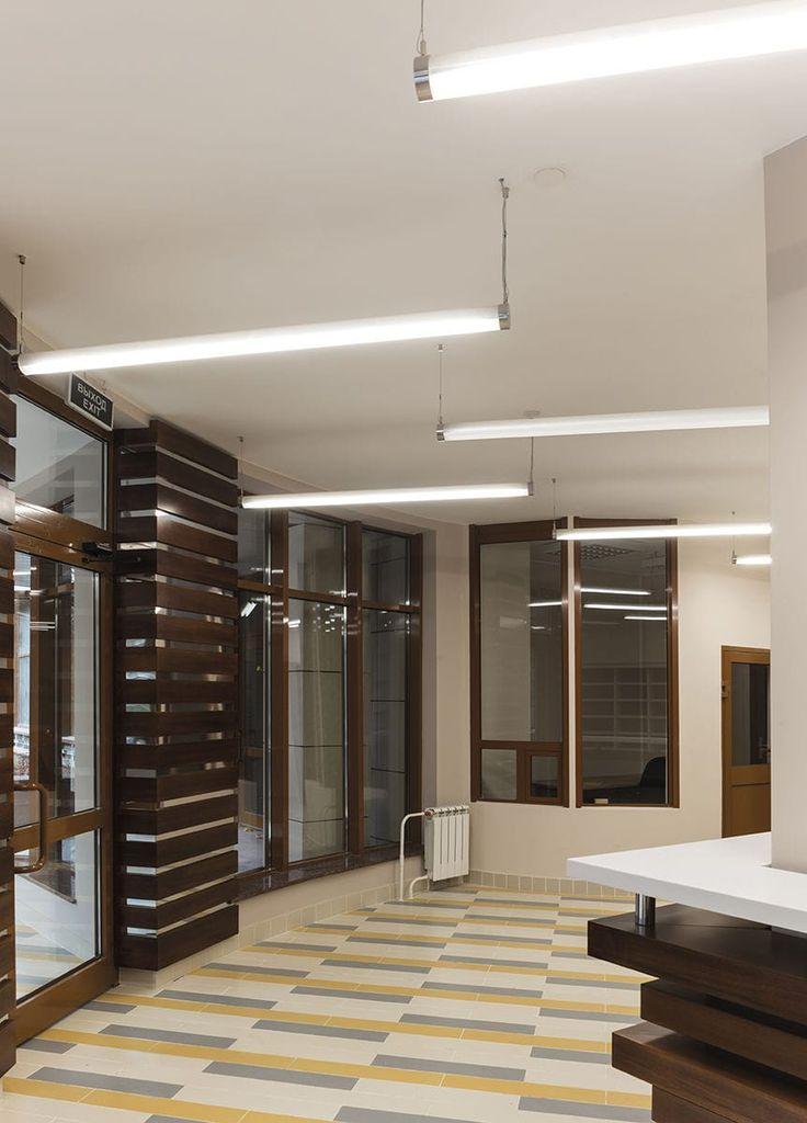 Hanging light fixture / LED / fluorescent / linear #lighting #design #moderndesign #ironageoffice http://www.ironageoffice.com/