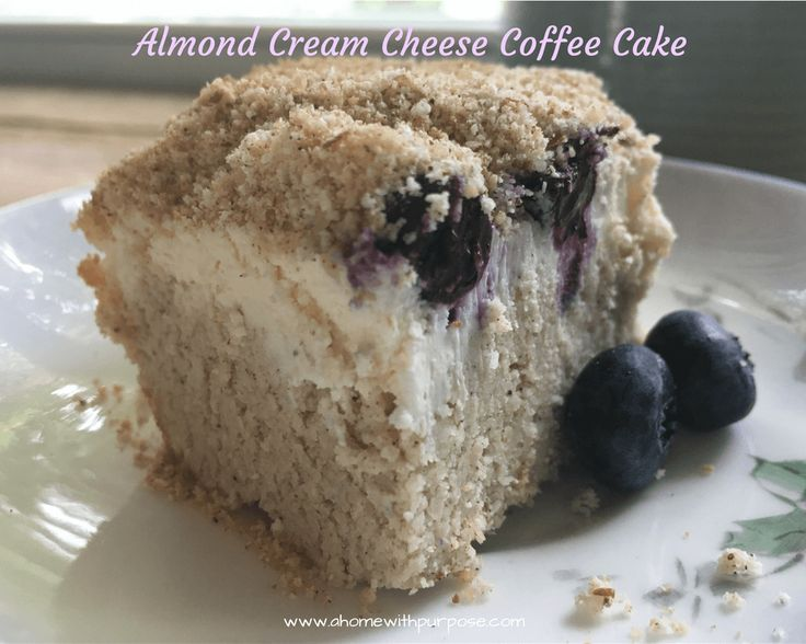 Almond Cream Cheese Coffee Cake- THM S, Low Carb, Grain and Gluten Free. I love coffee cake and cheesecake, so why not mix them into a wonderful breakfast cake or dessert!?