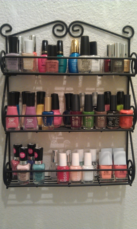 SPICE RACK FOR POLISHES  as i was FINALLY putting this up in my bathroom i realized ive lost some of my polishes somewhere :(  [link added for purchase] real-home