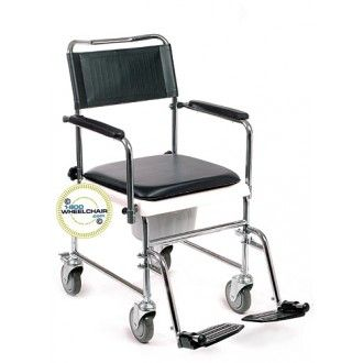 Drop-Arm Portable Commode Transport Chair with Optional Footrests | 1800wheelchair.com