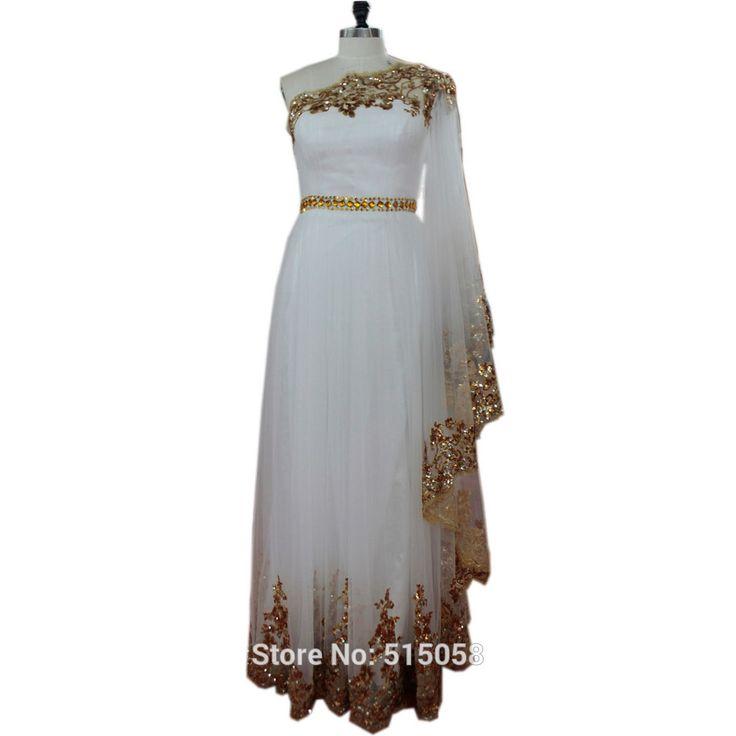 Золотыми блестками бисером одно плечо с длинными рукавами белого вечернее платье дубай кафтан платья 2016 мусульманин арабский пром платья