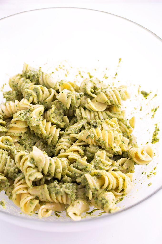 Simple Healthy Vegan Pesto Pasta - Homemade Spinach Basil Pesto Tossed Into Warm…