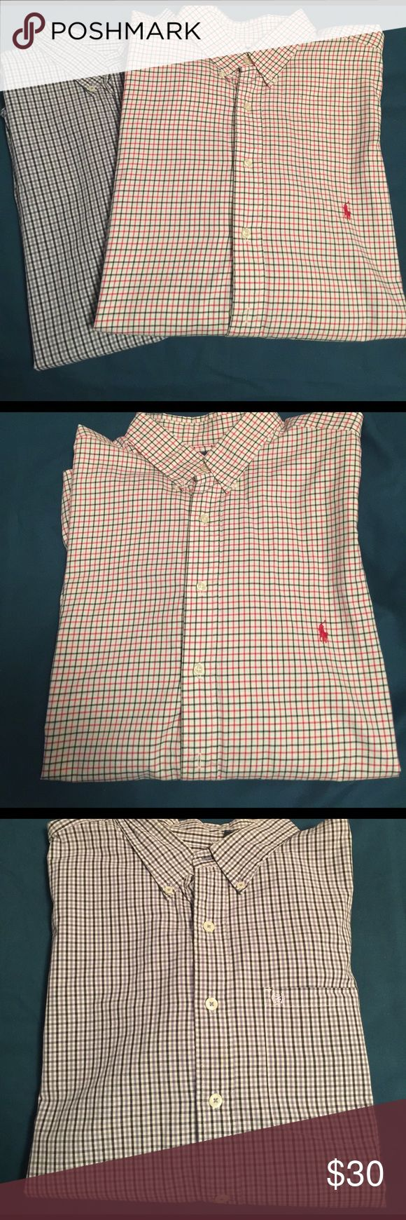 Mens shirt bundle 2 beautiful Mens long sleeved button down shirts. Red and blue Ralph Lauren Polo is size  2XB  and the purple and navy Izod is a size 2XLT. Both shirts are in great condition Polo by Ralph Lauren Shirts Casual Button Down Shirts