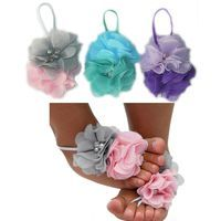 Baby Barefoot Sandal 3 Pack -  Double Diamante Flower Footsies